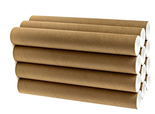 2' x 15' Cardboard Mailing Tube 12 Pack with Caps