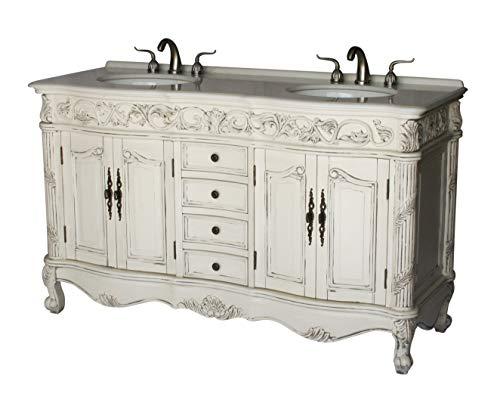 (60-Inch Antique Style Double Sink Bathroom Vanity Model 7660-B)
