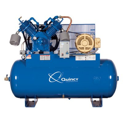- Quincy QP-15 Pressure Lubricated Reciprocating Compressor - 15 HP, 230 Volt, 3 Phase, 120-Gallon Horizontal, Model# 3153DS12HCA23