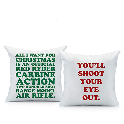 Price comparison product image Oh, Susannah Christmas Story Throw Pillow Cover Set (Two 18 by 18 Inch Pillow Cover) A Christmas Story Decorations Gifts