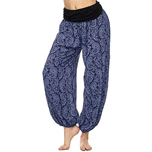 VEZAD Store Women Printed Loose Leg Casual Harem Pants Comfy Casual Palazzo Pants