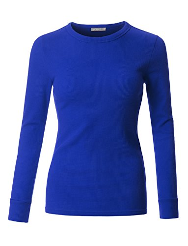 LE3NO Womens Fitted Long Sleeve Round Neck Ribbed Knit Thermal Shirt (Shirt Thermal Blue)