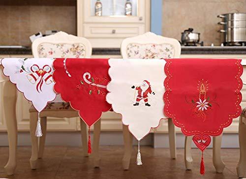 Santa Candle Xmastable Runner Sashes Cloth Christmas Santa Bell Cane Candle Design Tassel Weddingbed Table Runner Cloth Decor Gift