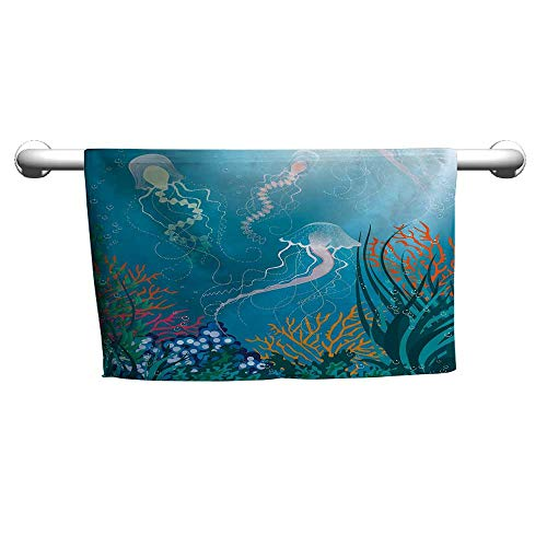 Hand Towel Aquarium,Artistic Jellyfishes Swimming Under The Sea Coral Reef Plants Oceanic Fauna,Blue Pink Orange,Hooded Towel for Baby boy
