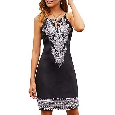 Happy Sailed Women Halter Neck Boho Print Sleeveless Casual Mini Beachwear Dress Sundress: Clothing