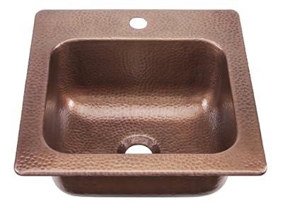 Sinkology Seurat Drop In Handmade Pure Solid Copper 15 in. 1-Hole Bar Copper Sink in Antique Copper