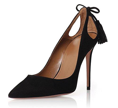 Taille High Enfiler Heels Femmes Noir Talon Stilettos Houppe Ubeauty Chaussures Aiguille Escarpins Grande 4wqzXP