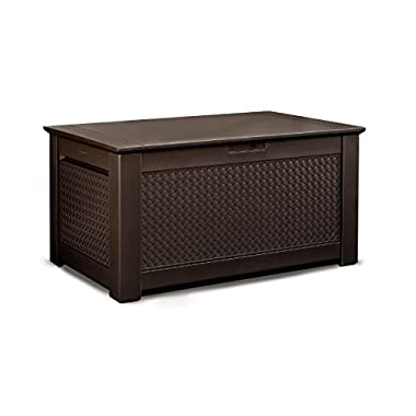 Rubbermaid 1859930 Outdoor Deck Box Storage Bench with Dark Teak Basket Weave Design