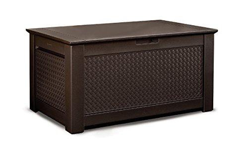 Rubbermaid Patio Chic Outdoor Storage Deck Box, Dark Teak Wicker Basket Weave (1859930)