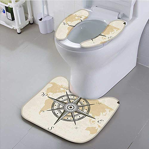 at Compass on Background of Old Map with Torn Border Frame Illustration Print Suit for The Toilet, ()