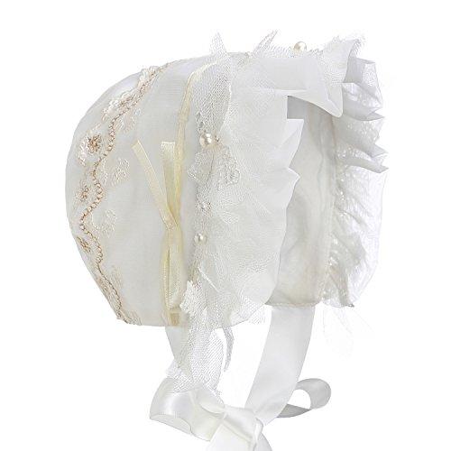 Hanakimi Girls' Beptism Elizabethan Bonnet JM1004 (XL/36M, White) ()