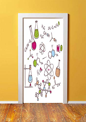 Educational 3D Door Sticker Wall Decals Mural Wallpaper,Doodle Style Hand Drawn Chemistry Composition with Atom Molecules Flask Decorative,DIY Art Home Decor Poster Decoration 30.3x78.5254,Green Blue