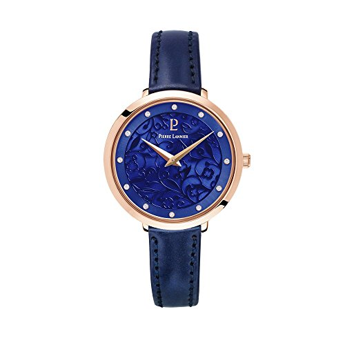 Women's Watch Pierre Lannier - 039L966 - EOLIA - Rose-Gold and Navy Blue - Leather Strap