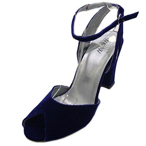 Wear & Walk UK - Sandalias de vestir de Terciopelo para mujer Azul - azul real