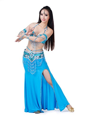 Dreamspell 2014 Women Sexy Light Blue Dancing Coctumes 3pcs Belly Dance (Sexy Belly Dance Costumes)