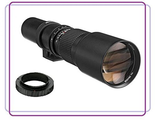 500mm f/8.0-f/32.0 Manual Focus Telephoto Lens For Nikon D3000, D3100, D3200, D5100, D5200, D7000, D7100, D7200, D80, D90, D100, D200, D300, D600, D610, D700, D750, D800, D800E, D810 DSLR Camera by HDStars