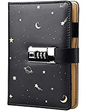 Starry Leather Journal with Lock, Refillable Paper Binder Password Diary, Secret A6 Writing Hardcover Notebook for Women Girls Boys, 5.12 X 7.28 Inch