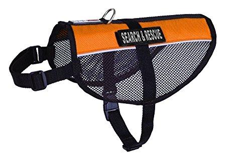(Dogline MaxAire Multi-Purpose Mesh Vest for Dogs and 2 Removable SEARCH & RESCUE Patches (Orange, Large (22