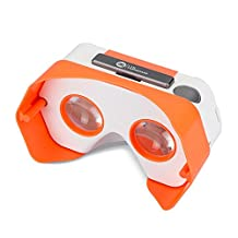 DSCVR Headset inspired by Google Cardboard v2 IO 2015 VR Gear for Apple iPhone and Android Smartphones - Google WWGC Certified Virtual Reality Viewer (Orange)