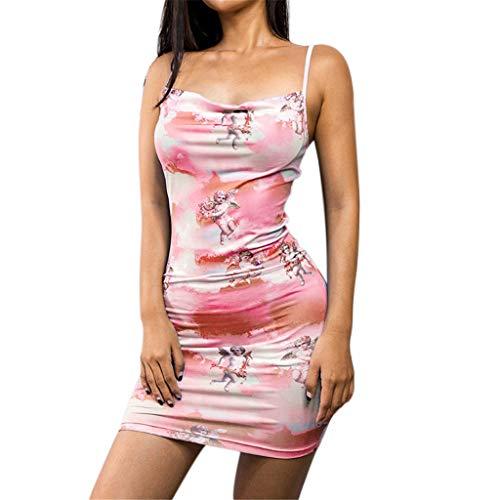 - Big Sale YetouWomen's Fashion Summer Leisure Sexy Open-Cross Women Off Shoulder Printed Dresses Pink