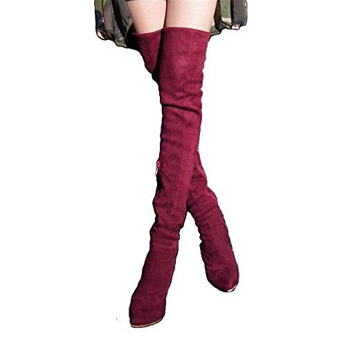 Shoe'N Tale Frauen Overknee High Stretchy Leder Oberschenkel hohe Schneeschuhe rot