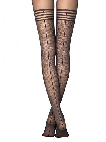 Conte elegant Sexy Backseamed Fishnet Tights - Impress,Black (Nero),Large