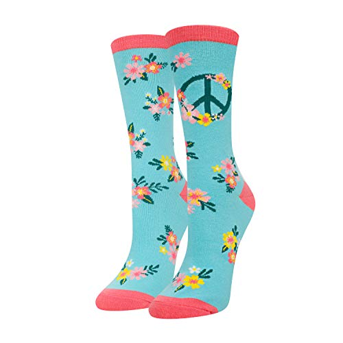 HAPPYPOP Funny Animal Flower Space Crew Socks For Women Girls, Alien Corgi Pug Unicorn Gift