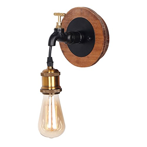 Standard Sconce Wood (Anmire Rustic Wall Sconce Lighting of Black Vintage Retro Antique Hanging Light Fixture Indoor Lamp Max 60w with Wood and Industrial Luminaire for Farmhouse Bedroom Bathroom)