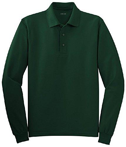 Collar Polo Shirt Pique - Joe's USA(tm - Mens Size Large Long Sleeve Polo Shirts in 10 Colors