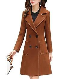 Womens Elegant Notched Lapel Double Breasted Knee Length Woolen Coat Jacket