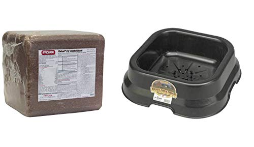 Stockade Mineral Block with Fly Egg Killer Rabon 33.3 Lb - Complete with All The Necessary Vitamins and Minerals for Cattle and Horses, Bundled with Miller Block Holder ()