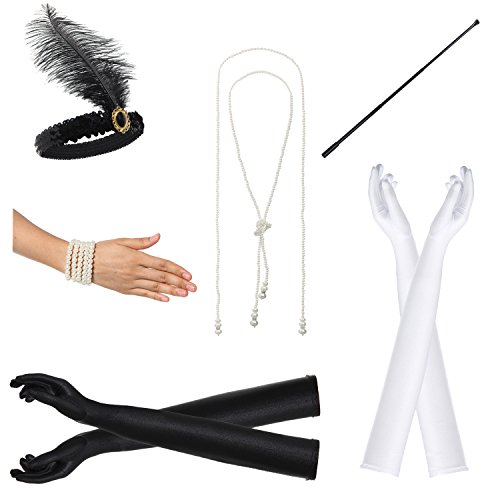 JustinCostume 1920s Accessories Headband Necklace Gloves Cigarette Holder, R ()