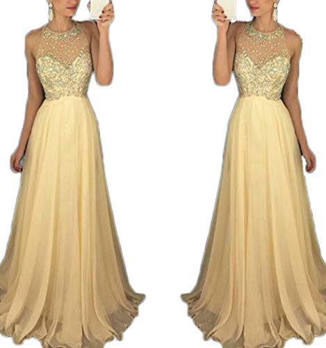 2019 Prom Dresses Long Halter Satin Beaded Backless Evening Formal GownA-line Prom Bridesmaid Dresses Beaded Halter Evening Gown