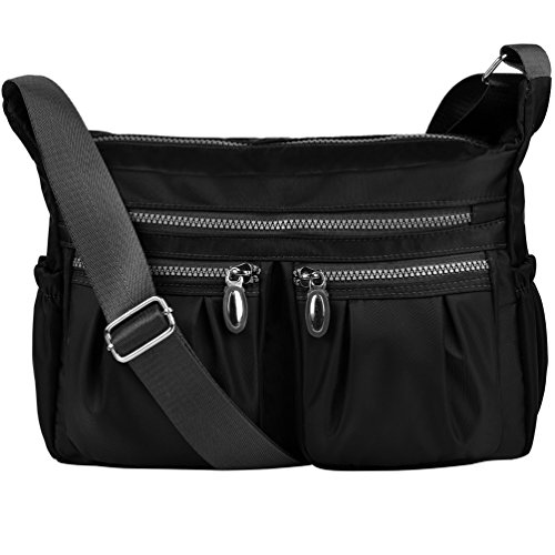 Vbiger Shoulder Bags Messenger Handbags Multi Pocket Waterproof Crossbody Bags (Black) (Multi Messenger)