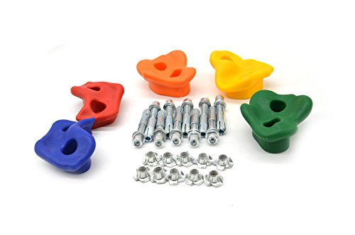HAPPY PIE PLAY&ADVENTURE HappyPie Indoor Outdoor Board or Wall Small Pegs Plastic Rock Stones for Kids Exercise Climbing Hold Random Colours (Set of (Plastic Rock Holds)