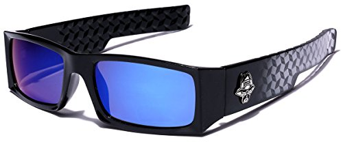 Locs Men's Original Gangsta Shades Rectangle Sunglasses with Color Mirror - Sunglasses Australia Locs