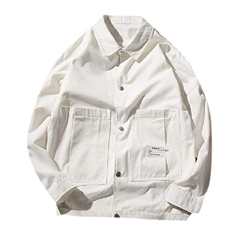 Howme-Men Big Pockets Buckle Solid Autumn Stylish Casual Bomber Jacket White