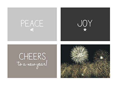 New Year Greeting Cards - N1502. Business Greeting Card with Peace, Joy and Cheers to the New Year on the Front. Box Set has 25 Greeting Cards and 26 White with Silver Foil Lined Envelopes.