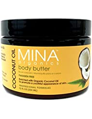 Coconut Oil Body Butter 12 ounce Jar (Paraben FREE) by Mina Organics. Factory Fresh!
