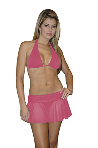 Chica Rica Women's Sheer Mesh Mini Skirt Watermelon One Size Fits Most