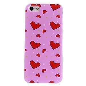 GONGXI-Corazones rojos Loving Patrón Hard Case PC con marco transparente para iPhone 5/5S