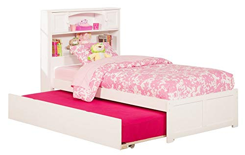 Atlantic Furniture AR8522012 Newport Platform Bed with Twin Size Urban Trundle, Twin, White