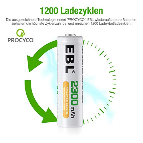 EBL AA Akku 2300mAh 12 Stück - wiederaufladbare AA Batterien, Typ NI-MH, geringe Selbstentladung mit Akkubox, Mignon AA Batterien Set