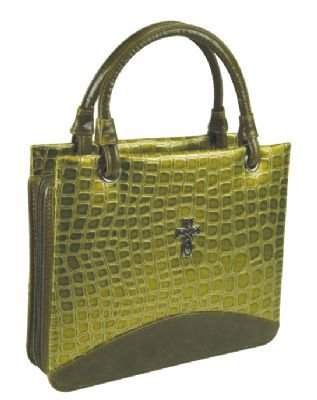 New Croc-embossed Purse Style Medium Bible Cover (Green)