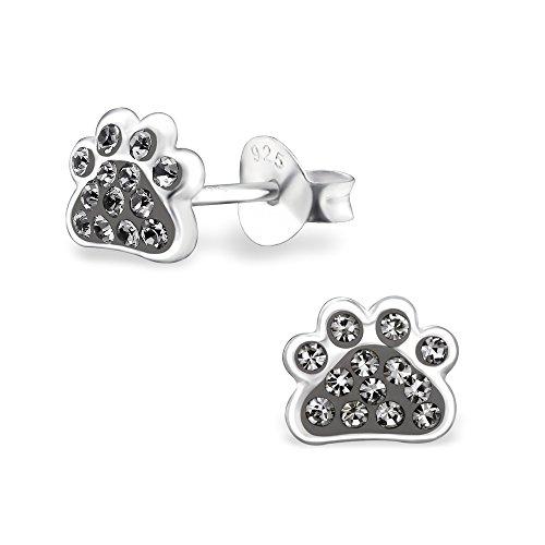 925 Sterling Silver Hypoallergenic Black Diamond Crystal Paw Print Stud Earrings