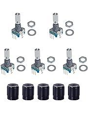 MoK 5 Stuks 360 Graden Roterende Encoder, EC11 Digitale Potentiometer, Code Schakelaar Potentiometer, 360 Graden Rotary Encoder, voor Auto-Elektronica, Multimedia Audio