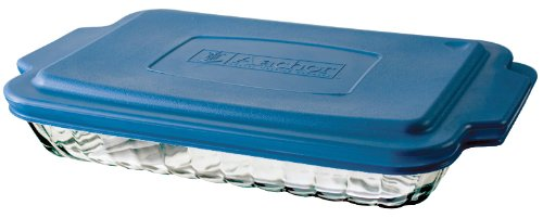 Anchor Hocking 3-Quart Sculpted Baking Dish with Blue Plastic Lid, Set of 3