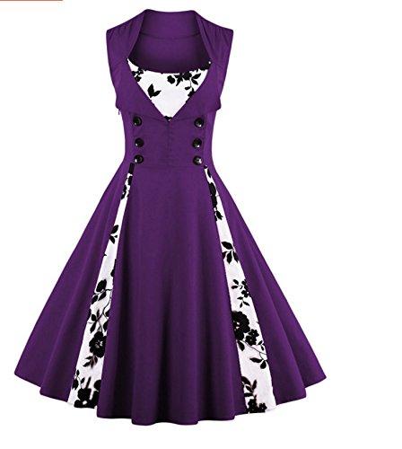 De Con RONG XIU Una Vestidos Péndulo flower De Purple Camiseta Una Sin Sin Mangas Camiseta Mangas dXa0Sxn0U