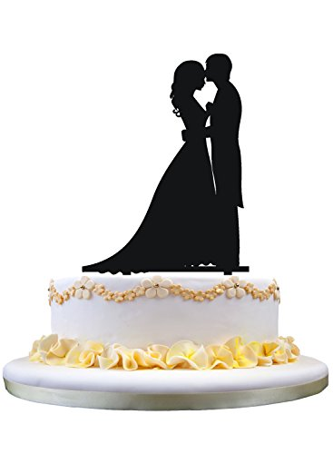 Kissing Bride Groom - Wedding Cake Topper - Bride and Groom Cake Topper, Silhouette of Groom Kissing Bride, Perfect for Wedding Engagement Anniversary Party Decor