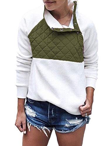 SHIBEVER Womens Plus Fleece Pullover Sweatshirt Long Sleeve Coats Cute Jackets Oblique Button Geometric Pattern Outwear Tops Army Green S